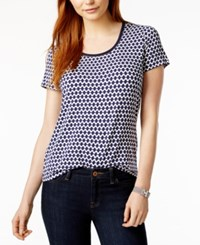 Tommy Hilfiger Crochet Trim T Shirt Only At Macy's Ivory Navy