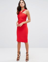 Forever Unique Aisha Midi Dress With Twisted Strap Detail Red