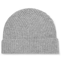 Lock And Co Hatters Ribbed Cashmere Beanie Gray