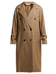 Sonia Rykiel Double Breasted Prince Of Wales Check Wool Coat Beige Multi