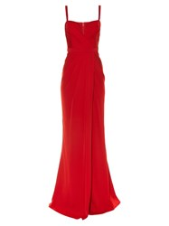 Alexander Mcqueen Ruched Drape Bustier Gown Red