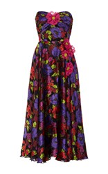 Anna Sui Gardenia Burnout Satin Prom Dress Purple Pink Green