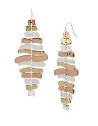 Robert Lee Morris Sculptural Chandelier Earrings Tri Tone