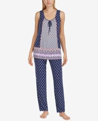 Ellen Tracy Sleeveless Printed Pajama Set White Blue