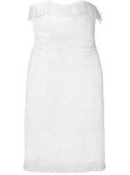 Jean Louis Scherrer Vintage Fringed Strapless Dress White