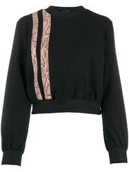 Just Cavalli Snake Effect Stripe Sweatshirt Black