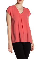 Spense Cap Sleeve Pleat Blouse Orange