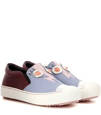 Fendi Embellished Leather Sneakers Multicoloured