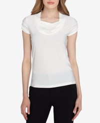 Tahari By Arthur S. Levine Asl Short Sleeve Draped Ruched Top Ivory