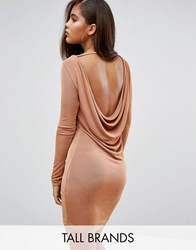 Missguided Tall Cowl Back Bodycon Dress Copper Brown