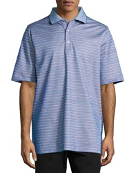 Bobby Jones Wedge Jacquard Striped Polo Shirt Sapphire