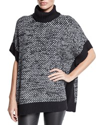 Michael Michael Kors Twill Stitch Turtleneck Poncho Black