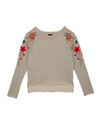 Hudson Distressed French Terry Sweatshirt W Flower And Star Embroidery Size S Xl Gray