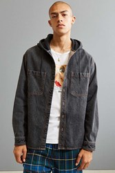 Urban Outfitters Uo Hooded Denim Button Down Shirt Black