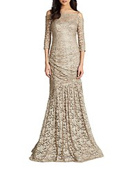 Teri Jon Metallic Lace Off The Shoulder Gown Champagne