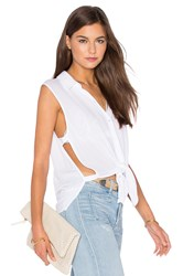 Lanston Button Down Cut Out Tank White