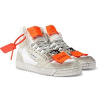 Off White Court 3.0 Distressed Suede Leather And Canvas High Top Sneakers White