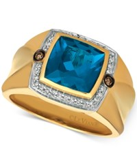 Le Vian Gents Men's London Blue Topaz 4 1 8 Ct. T.W. And Diamond 1 5 Ct. T.W. Ring In 14K Gold