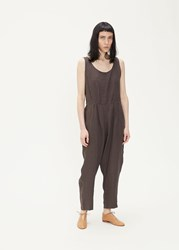 Black Crane 'S Overall Jumpsuit In Charcoal Size Xs 100 Linen