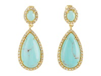Lauren Ralph Lauren Dazzling Jewels Large Teardrop With Pave Bezel Set Stone Clip Earring Turquoise Gold Earring Blue