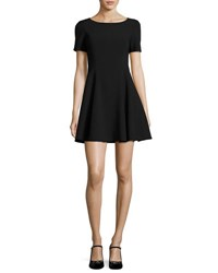 Halston Short Sleeve Wide Crewneck Fit And Flare Dress Black
