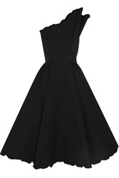 Vika Gazinskaya One Shoulder Cotton Blend Cloque Midi Dress Black