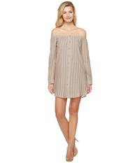 Brigitte Bailey Adelina Off The Shoulder Dress With Buttons Taupe Women's Dress