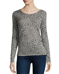 Majestic Paris For Neiman Marcus Long Sleeve Hand Dyed Leopard Print Top Women's