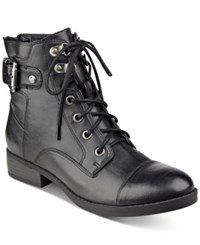 G By Guess Fella Lace Up Combat Booties Women's Shoes Black