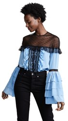 Costarellos Illusion Layered Sleeve Blouse Azure