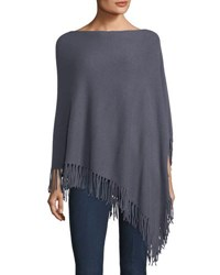 Minnie Rose Cashmere Fringed Poncho Gray