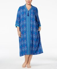 Charter Club Plus Size Contrast Banded Caftan Only At Macy's Blue Stainglass