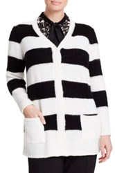 Persona By Marina Rinaldi 'Muscio' Stripe V Neck Cardigan Plus Size White