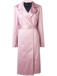 Theory Belted Duster Coat Pink