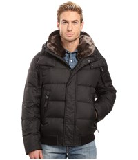 Marc New York Rockingham Down Bomber With Removable Faux Fur Collar And Removable Hood Black Men's Coat