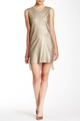 My Tribe Genuine Leather Accent Sleeveless Dress Metallic
