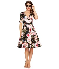 Unique Vintage 1 2 Sleeve Delores Swing Dress Black Pink Floral Women's Dress Multi