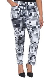 Eloquii 'Kady' Print Ankle Pants Plus Size Gray