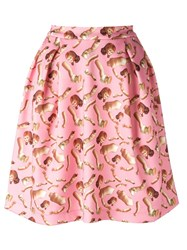 Giorgia Fiore Doll Print Skirt Pink Purple