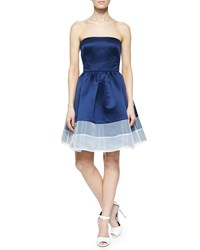 Erin Fetherston Strapless Colorblock Cocktail Dress Navy
