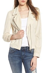 Vigoss Perforated Faux Suede Moto Jacket Cloud