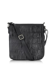 Robe Di Firenze Black Croco Stamped Italian Leather Crossbody Bag