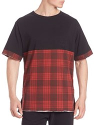 Les Benjamins Plaid Short Sleeve Tee Black Red