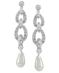 Carolee Earrings Glass Pearl And Crystal Linear Drop