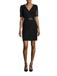 The Kooples Short Leather Sleeve Dress Black