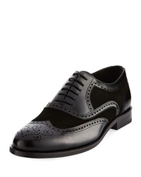 Jared Lang Brogue Mixed Wing Tip Oxford Black