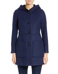 Jessica Simpson Faux Fur Lined Hooded Cargo Coat Navy