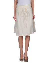 Malloni Knee Length Skirts Ivory