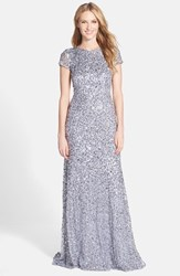 Adrianna Papell Women's Short Sleeve Sequin Mesh Gown Silver Grey