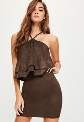 Missguided Brown Faux Suede Double Frill Bodycon Dress Chocolate